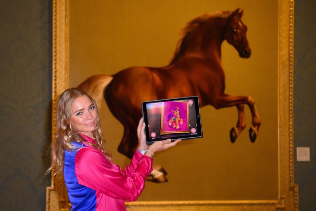 Jodie Kidd unveils the My Little Pony Magical Gallery in London on Monday, September 20, 2021, an augmented-reality app that transforms ten of the National Gallery's most famous horse paintings into My Little Pony illustrations, from today until 1st November. (Photo by Matt Crossick/Empics)