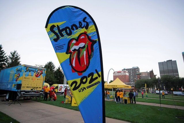 A poster is displayed as The Rolling Stones kick off their U.S. tour, a month after the death of drummer Charlie Watts, in St. Louis, Missouri, U.S. September 26, 2021. (Photo by Lawrence Bryant/Reuters)