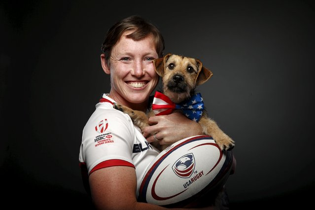 Rugby player Jillion Potter poses for a portrait with her dog Cody at the U.S. Olympic Committee Media Summit in Beverly Hills, Los Angeles, California March 8, 2016. (Photo by Lucy Nicholson/Reuters)