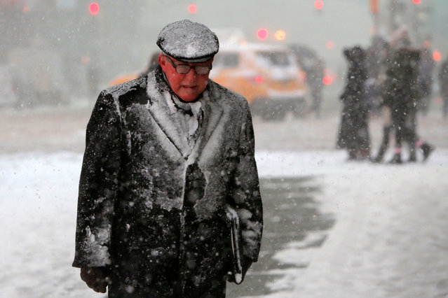 A man walks in Times Square as snow falls in Manhattan, New York, U.S. February 9, 2017. (Photo by Andrew Kelly/Reuters)