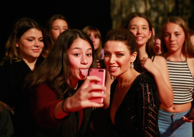 Dannii Minogue poses for a selfie with a fan in the crowd who sticks her tongue out at the 57th Annual Logie Awards at Crown Palladium on May 3, 2015 in Melbourne, Australia. (Photo by Scott Barbour/Getty Images)
