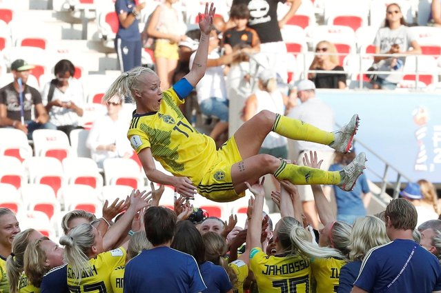 Players of Sweden celebrate the victory after the 2019 FIFA Women's World Cup France 3rd Place Match match between England and Sweden at Stade de Nice on July 06, 2019 in Nice, France. (Photo by Eric Gaillard/Reuters)