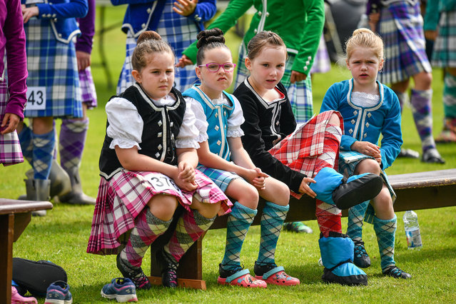 Highland dancers take part in the Inveraray Highland Games on July 16, 2019 in Inverarary, Scotland.The Games celebrate Scottish culture and heritage with field and track events, piping, highland dancing competitions and heavy events including the world championships for tossing the caber. (Photo by Jeff J. Mitchell/Getty Images)