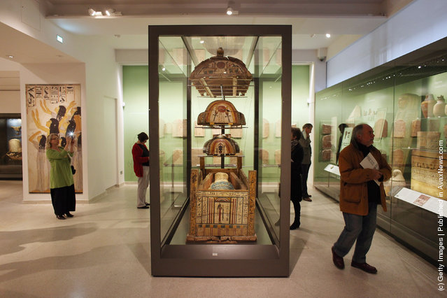 Members of the public admire the Ashmolean Museum's new exhibition of artifacts from ancient Egypt and Nubia