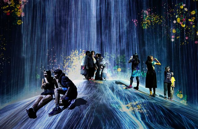 """Visitors pose in front of a digital artwork by Japanese creative teamLab presented at the Digital Art Museum """"teamLab Borderless"""" in Tokyo, Japan, 20 June 2019. On 21 June 2019, the 10,000 square meter digital art museum will mark its first year anniversary. Since its opening on 21 June 2018, the digital museum attracted some 2.3 million visitors from more than 160 countries. (Photo by Franck Robichon/EPA/EFE/Rex Features/Shutterstock)"""