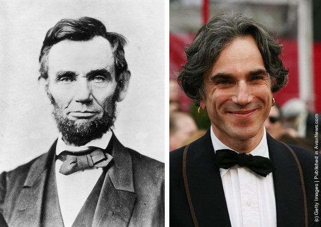 Abraham Lincoln, (1809 - 1865), the 16th President of the United States of America poses in circa1863; Actor Daniel Day-Lewis arrives at the 80th Annual Academy Awards held at the Kodak Theatre on February 24, 2008 in Hollywood, California
