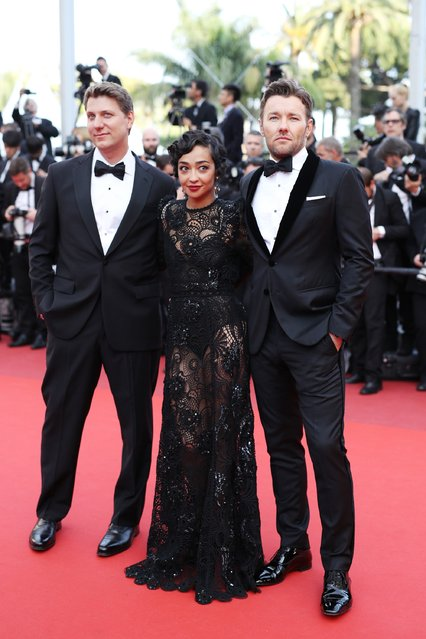"Director Jeff Nichols, actress Ruth Negga and actor Joel Edgerton attend the ""Loving"" premiere during the 69th annual Cannes Film Festival at the Palais des Festivals on May 16, 2016 in Cannes, France. (Photo by Andreas Rentz/Getty Images)"