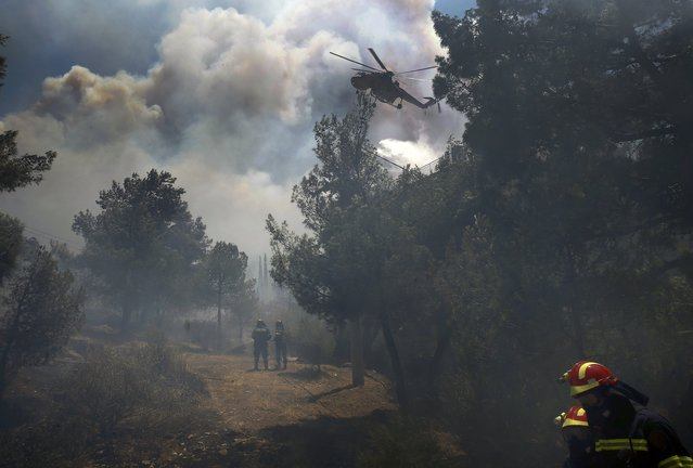 A helicopter drops water over a forest fire as firefighters work to extinguish it in an Athens neighborhood, July 17, 2015. (Photo by Yannis Behrakis/Reuters)