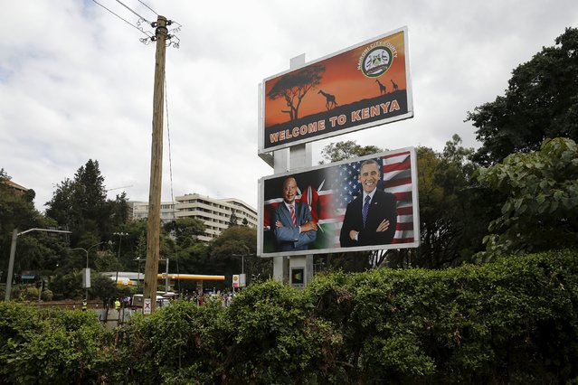 A sign welcomes U.S. President Barack Obama along the route his motorcade carries him to participate in a bilateral meeting with Kenya's President Uhuru Kenyatta at the State House in Nairobi July 25, 2015. (Photo by Jonathan Ernst/Reuters)