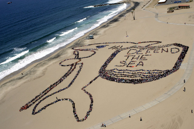 More than 5,000 Los Angeles kids, teachers and volunteers form a massive kid-designed shark and shield that reads 'Defend the Sea' from everyday plastic trash as part of the 19th annual Kids Ocean Day Adopt-A-Beach Clean-Up sponsored by the Malibu Foundation, City of Los Angeles and the California Coastal Commission June 7, 2012 in Los Angeles