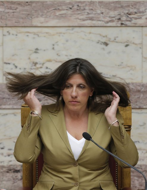 Greek Parliament Speaker Zoe Konstantopoulou attends a parliamentary session in Athens, Greece, early August 14, 2015. (Photo by Christian Hartmann/Reuters)