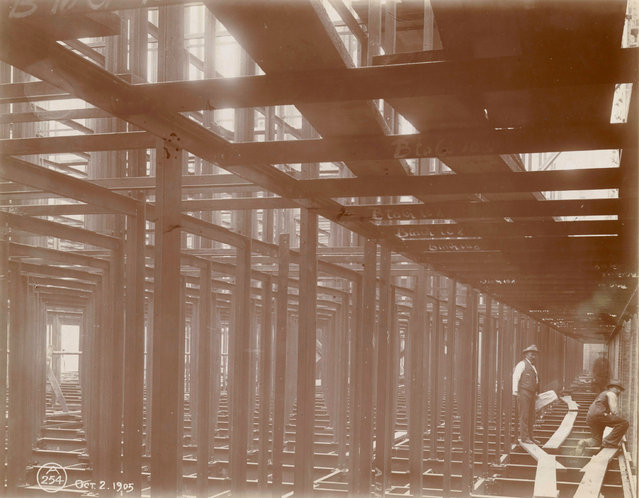 The structural framework of the central building of the New York Public Library, 1905. (Photo by New York Public Library)