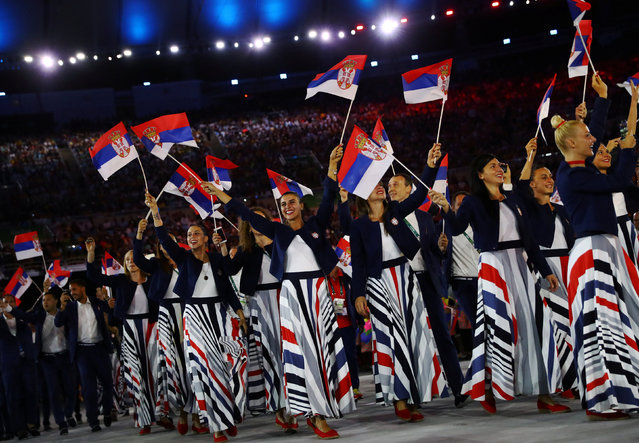 2016 Rio Olympics, Opening ceremony, Maracana, Rio de Janeiro, Brazil on August 5, 2016. Serbian athletes during the opening ceremony. (Photo by Kai Pfaffenbach/Reuters)