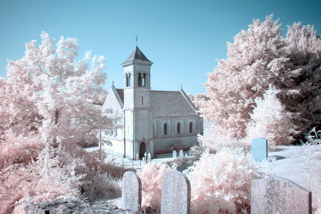 Frampton Mansell Church Gloucestershire pictured in infra-red. These are the stunning images of what looks like a picturesque winter wonderland – but actually shot in the middle of summer. Amateur photographer Catherine Perkinton, 45, has spent the summer travelling around the country to create the fabulous images by utilising infra-red. (Photo by Catherine Perkinton/SWNS/ABACAPress)