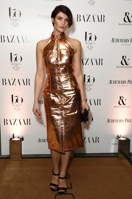 """Actress Gemma Arterton poses for photographers on arrival at the Harpers Bazaar """"Women of the Year"""" Awards 2017, in London, Thursday, November 2, 2017. (Photo by Grant Pollard/Invision/AP Photo)"""