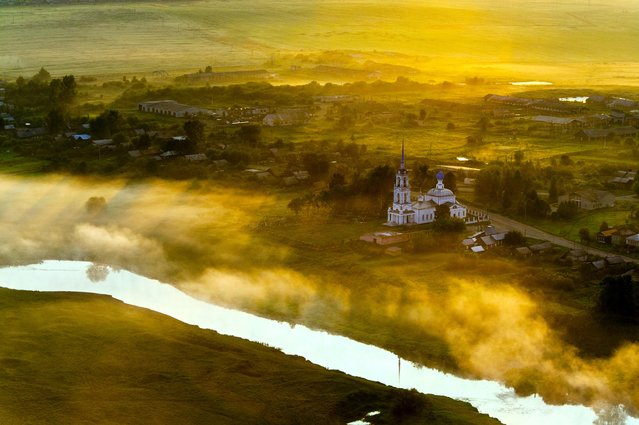 "Russia From Above: ""A Russian Sunrise"". Day breaks near Suzdal, in Vladimir Oblast. (Photo by Sergey Fomin)"