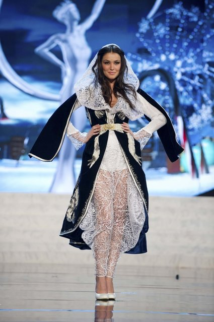 Miss Kosovo Diana Avdiu on stage at the 2012 Miss Universe National Costume Show on Friday, December 14, 2012 at PH Live in Las Vegas, Nevada. The 89 Miss Universe Contestants will compete for the Diamond Nexus Crown on December 19, 2012. (Photo by AP Photo/Miss Universe Organization L.P., LLLP)