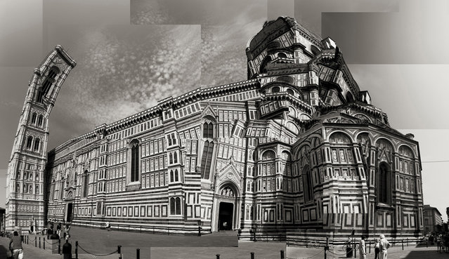 """Il Duomo di Firenze"". The photo is a composite from roughly two-dozen images, taken with an Olympus point-and-shoot, of the famous Duomo from various perspectives. Photo by Garret Suhrie (Los Angeles, California). Photographed in Florence, Italy, October 2011."