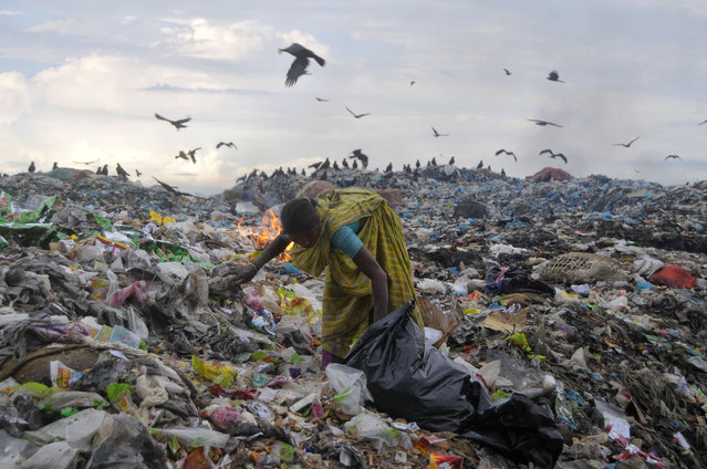 A female worker collected the recycling products from the dump of garbage. Environment is at high risk of pollution here while garbage is throwing openly in this dump in Lalmatia, Sylhet, Bangladesh, October 14, 2015. From this garbage air pollution is threatening health & life while dust and various organism with smoke are spreading as well. (Photo by Md Rafayat Haque Khan via ZUMA Wire)