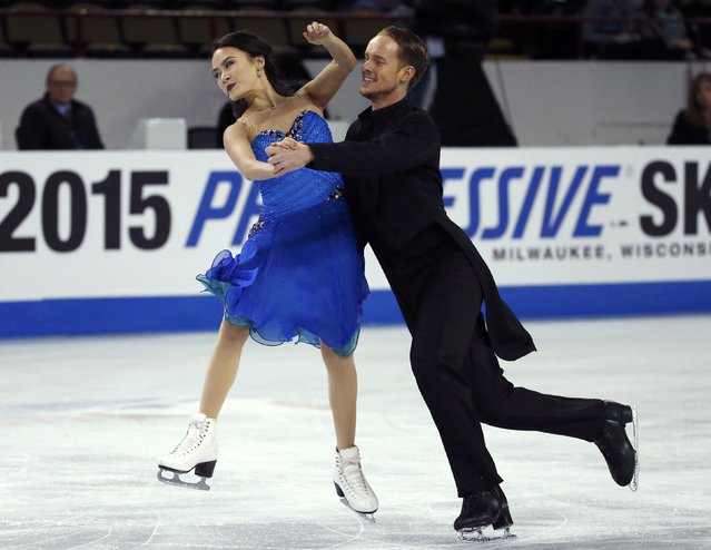 Madison Chock and Evan Bates of the U.S. perform during the ice dance short program at the Skate America figure skating competition in Milwaukee, Wisconsin October 23, 2015. (Photo by Lucy Nicholson/Reuters)