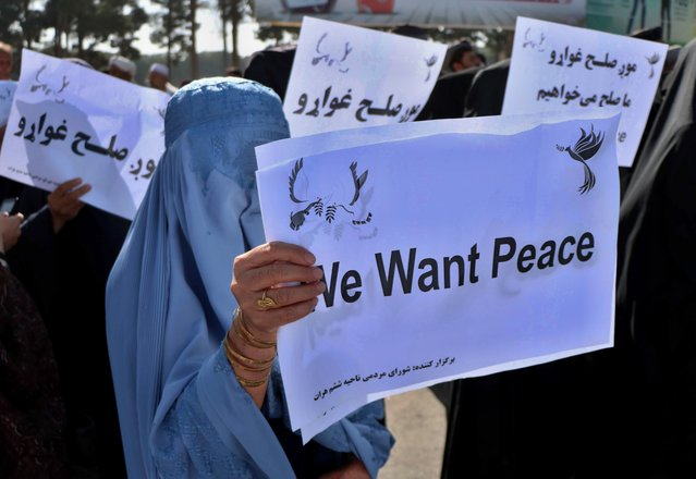 Afghans hold placards as they rally to support the Doha peace talks between Taliban and the Afghan government, in Herat, Afghanistan, 21 September 2020. Nearly 19 years after the fall of the Taliban regime and the United States invasion, the Afghan government and insurgents on 12 September began peace negotiations in Doha, Qatar. (Photo by Jalil Rezayee/EPA/EFE)