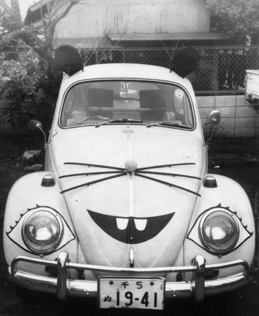 A Volkswagen Beetle with a mouse design which belongs to an exterminating company in Tokyo, Japan shown around January 10, 1972. The design was put on the vehicle to match the local zodiac year. (Photo by AP Photo)