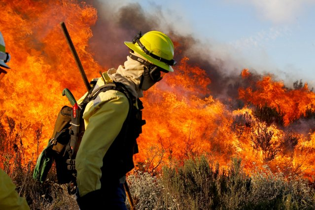 A fireman walks near flames as a fire rages near a mosque on the edge of Lion's Head mountain near the city of Cape Town, South Africa, Tuesday, December 2, 2014. (Photo by Schalk van Zuydam/AP Photo)