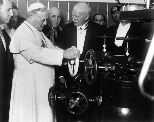 Pope Pius XI at the inauguration of the new wireless installation at the Vatican City, Rome, Italy on February 9, 1931. (Photo by AP Photo)