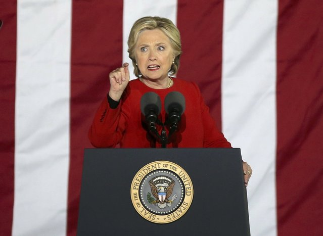 U.S. Democratic presidential nominee Hillary Clinton speaks during a campaign event in Philadelphia, Pennsylvania, U.S. November 7, 2016. (Photo by Carlos Barria/Reuters)