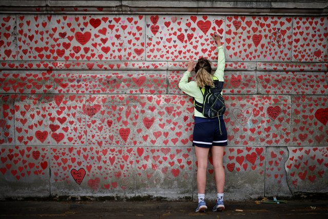 A woman draws on the National Covid Memorial Wall on the embankment on the south side of the River Thames in London on April 30, 2021 in memory of those who lost their lives to Covid-19. (Photo by Tolga Akmen/AFP Photo)