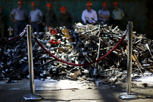A pile of confiscated weapons is seen before they are destroyed at a foundry in Santiago, Chile, January 18, 2016. (Photo by Ivan Alvarado/Reuters)