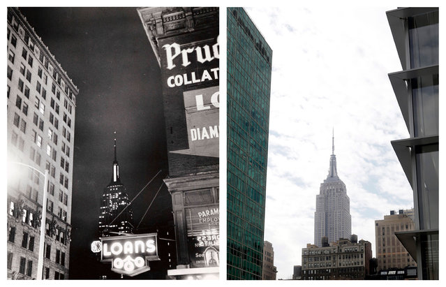 "This combination shows the 1943 photo ""Empire State Bldg."" by Weegee, provided by the International Center of Photography in New York, and the same vantage point on Tuesday, March 17, 2015. (Photo by AP Photo/Copyright Weegee/The International Center of Photography, Mark Lennihan)"