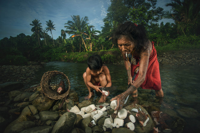 These stunning images document the everyday lives of the men, women and children of the Mentawai tribe. The Mentawai people, a native population in Indonesia, are famous for their decorative tattoos and for living a semi-nomadic life on the Mentawai Islands in West Sumatra. Shot by professional photographer Mohammed Saleh Bin Dollah, the series captures a glimpse of life on the island as the Mentawai men smoke and hunt for food and the children play in the river. (Photo by Muhamad Saleh Dollah/Barcroft Media)