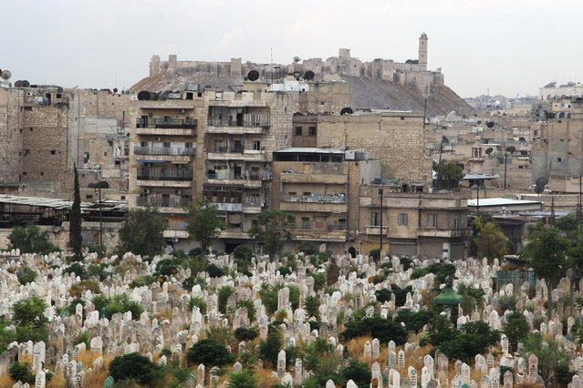 A view shows a cemetery as Aleppo's ancient citadel is pictured in the background as seen from a rebel-controlled area of Aleppo, Syria, August 30, 2015. (Photo by Abdalrhman Ismail/Reuters)