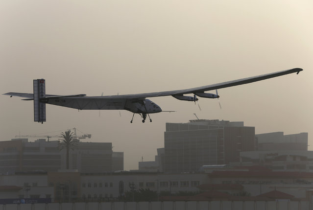 The Solar Impulse 2 takes off at Al Bateen airport in Abu Dhabi, March 9, 2015. (Photo by Ahmed Jadallah/Reuters)