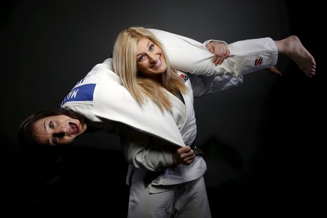 "Judo competitors Marti Malloy (L) and Kayla Harrison pose for a portrait at the U.S. Olympic Committee Media Summit in Beverly Hills, Los Angeles, California March 8, 2016. ""When I fight, I have an all Eminem playlist: I like all Eminem all the time"", said Harrison. (Photo by Lucy Nicholson/Reuters)"