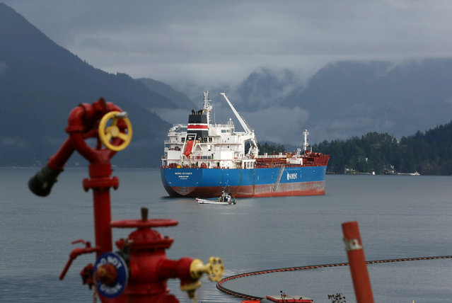 The Nord Steady, a chemical/oil tanker, anchors before mooring at a Vancouver-area Chevron refinery in Burnaby, British Columbia, Canada November 17, 2016. Picture taken November 17, 2016. (Photo by Chris Helgren/Reuters)