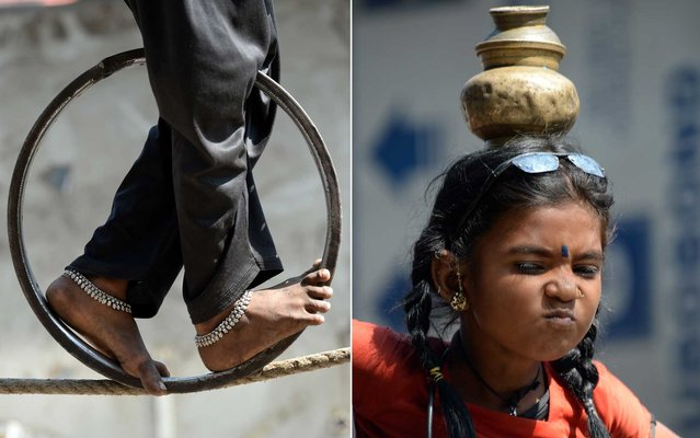 Nine year old girl Barsati reacts while walking on a tightrope in Mumbai on February 11, 2014. Barsati, and her younger brother Rajababu, (4) earn an average of around 2000 rupees (32 dollars) per day from pedestrians and tourists performing various acts on the tightrope near the city's iconic landmark Gateway of India. (Photo by Indranil Mukherjee/AFP Photo)