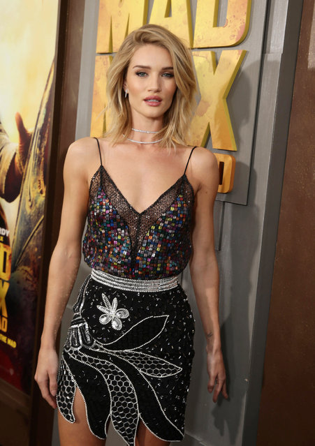 "Rosie Huntington-Whiteley seen at the Warner Bros. premiere of ""Mad Max: Fury Road"" on Thursday, May 7, 2015, in Los Angeles. (Photo by Eric Charbonneau/Invision for Warner Bros./AP Images)"
