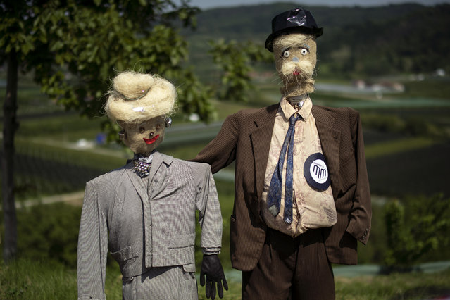 """Scarecrows are displayed during a """"Scarecrows Fair"""" in Castellar, Italy's northern village near Cuneo, on May 10, 2019. During the annual fair, citizens prepare their own scarecrow and put them in the gardens, courtyards, fields and streets. (Photo by Marco Bertorello/AFP Photo)"""