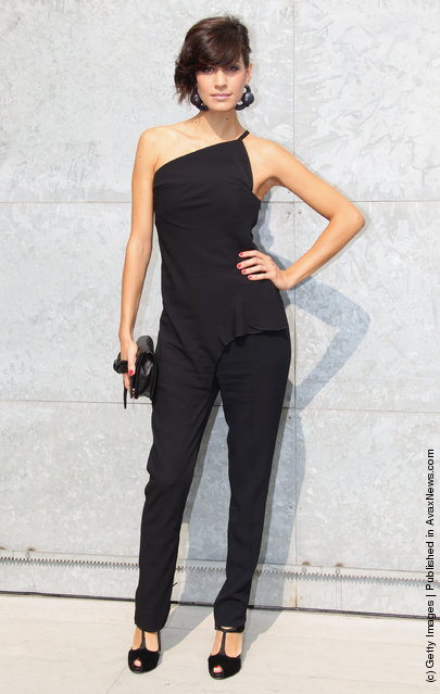 Giulia Bevilacqua attends the Emporio Armani Spring/Summer 2012 fashion show as part Milan Womenswear Fashion Week