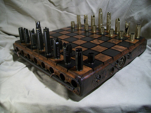 Custom Made Steampunk Bullet Shell Chess