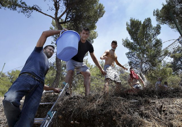 Local residents carry water to extinguish a forest fire in an Athens neighborhood July 17, 2015. (Photo by Yannis Behrakis/Reuters)