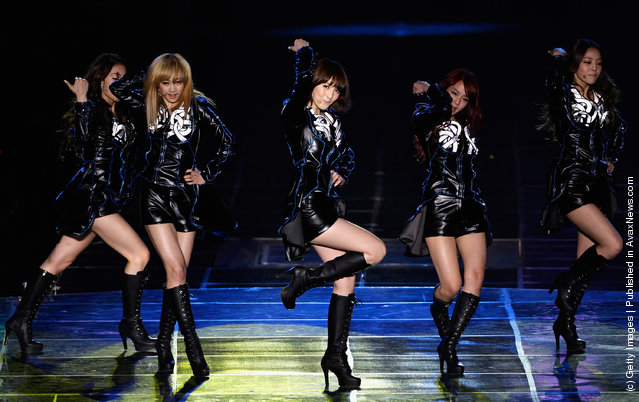 KARA perform on stage during their first solo concert KARASIA at Olympic gymnasium on February 18, 2012 in Seoul, South Korea