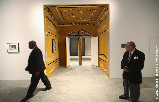 Visitors attend a press preview of the 2012 Whitney Biennial at the Whitney Museum of American Art