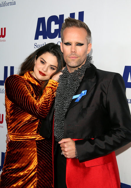 (L-R) Selena Gomez and Justin Tranter attend ACLU SoCal's Annual Bill of Rights dinner at the Beverly Wilshire Four Seasons Hotel on November 17, 2019 in Beverly Hills, California. (Photo by Jean Baptiste Lacroix/WireImage)