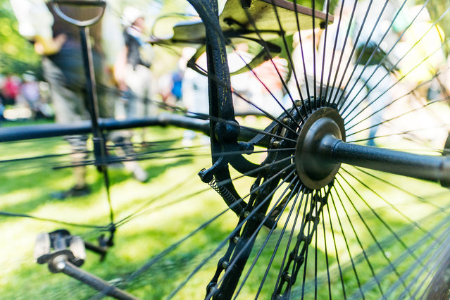 A feature of a historical bicycle during a bicycle ballet event at Schloss Karlsruhe palace during the 2017 International Veteran Cycle Association (IVCA) rally to celebrate the 200th anniversary of the bicycle on May 27, 2017 in Karlsruhe, Germany. (Photo by Alexander Scheuber/Getty Images)
