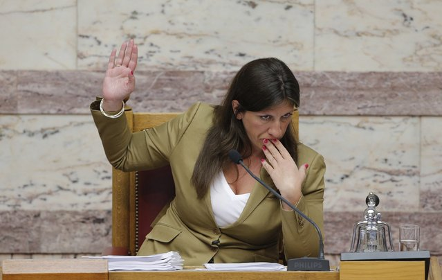 Greek Parliament Speaker Zoe Constantopoulou attends a parliamentary session in Athens, Greece, early August 14, 2015. (Photo by Christian Hartmann/Reuters)