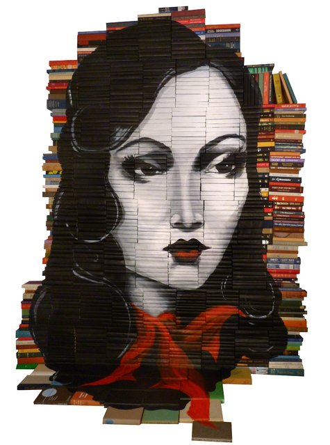 """""""The Lady Of Arlington"""". Currently on view at Mesa Contemporary Arts Museum in Mesa, AZ.  The title comes from one of the books hidden in the piece. (Photo and caption by Mike Stilkey)"""