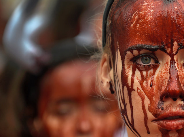 A animal rights protester covered in fake blood demonstrate for the abolition of bull runs and bullfights a day before the start of the famous running of the bulls San Fermin festival in Pamplona, northern Spain, July 5, 2016. (Photo by Eloy Alonso/Reuters)